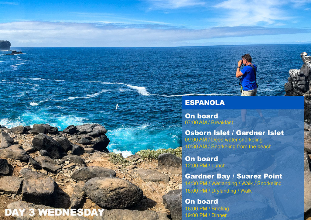 Nemo I Galapagos Cruises Itinerary B Third Day Wednesday Floreana AM Cormorant Point Devil's Crown PM Post Office Bay