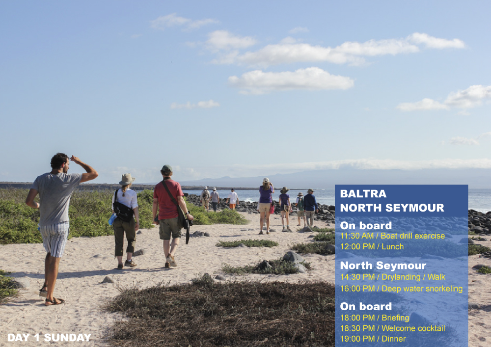 Nemo II Galapagos Cruises Itinerary North First Day Sunday AM Baltra PM Seymour