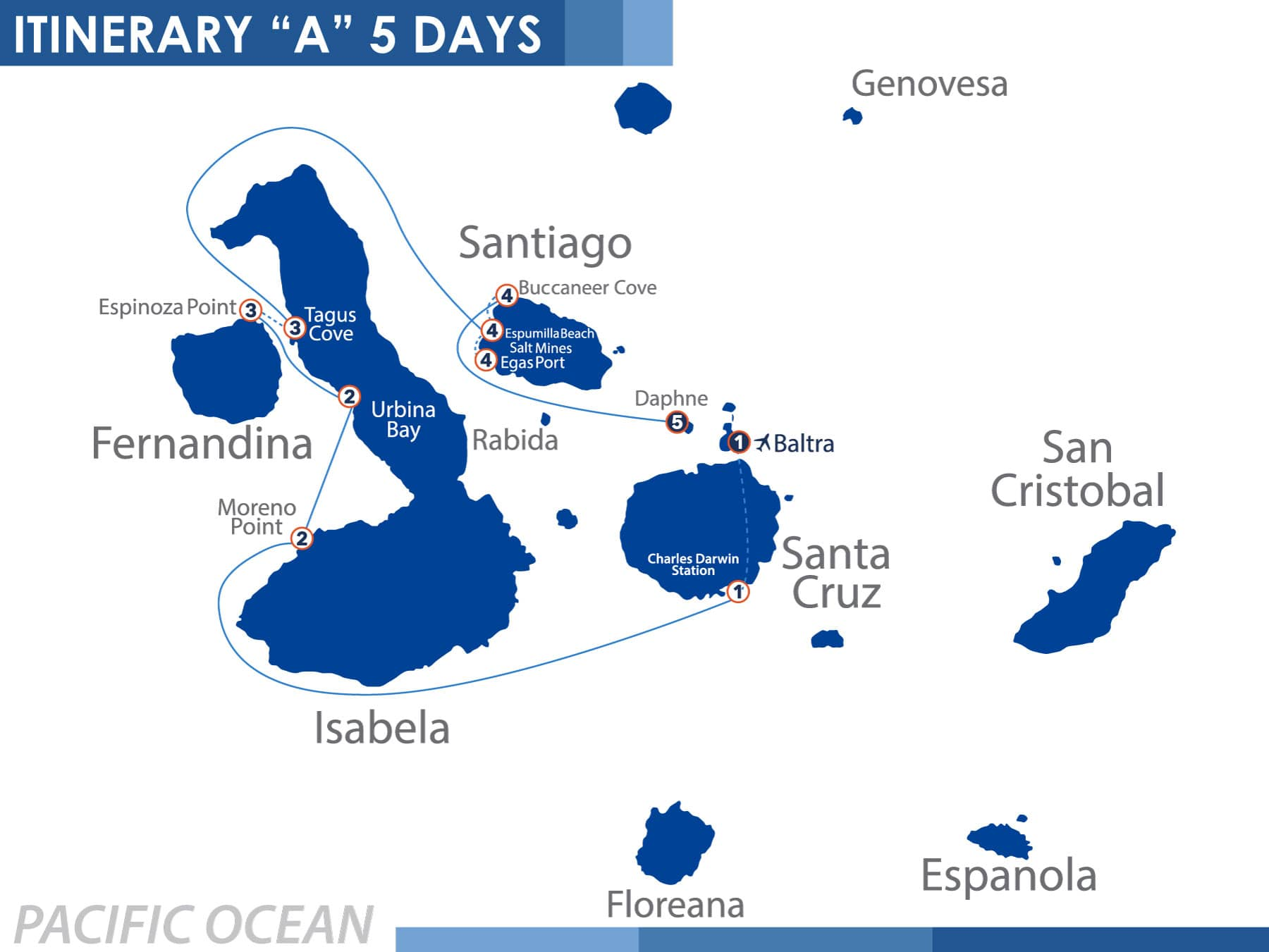 North Itinerary Nemo III Galapagos Cruise 5 Days