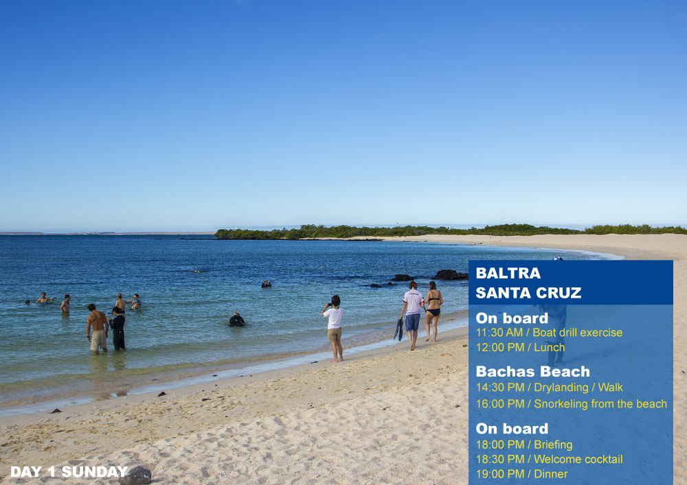 Nemo III Galapagos Cruises Itinerary North First Day Sunday AM Baltra PM Bachas Beach