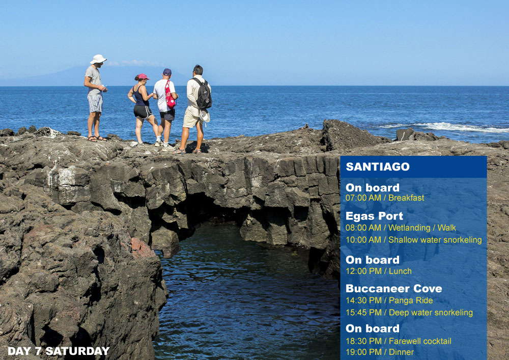 Nemo III Galapagos Cruises Itinerary North Seventh Day Saturday Santiago AM Egas Port PM Buccaneer Cove