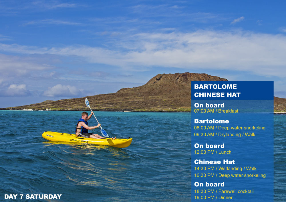 Nemo III Galapagos Cruises Itinerary South 8 Days - Seventh Day Saturday AM Bartolome PM Chinese Hat