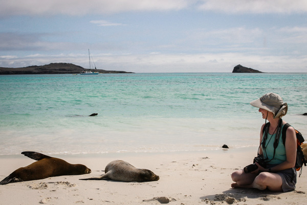Close encounters on the beach Galapagos Island