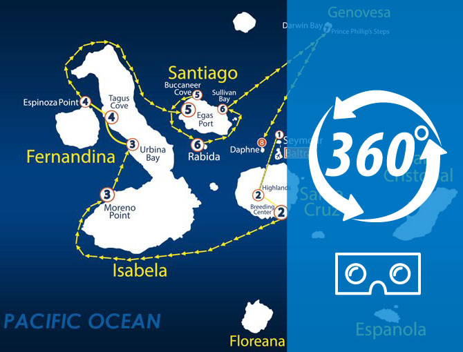 Virtual Tour 360 North Itinerary Aboard The Nemo II Galapagos Cruise