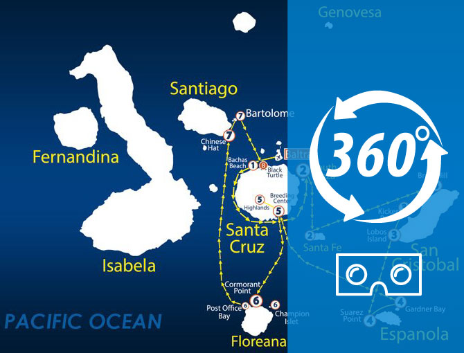 Virtual Tour 360 South Itinerary Aboard The Nemo II Galapagos Cruise