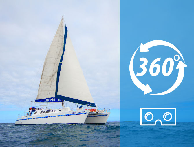 Virtual Tour 360 Nemo II Motor Sail Catamaran